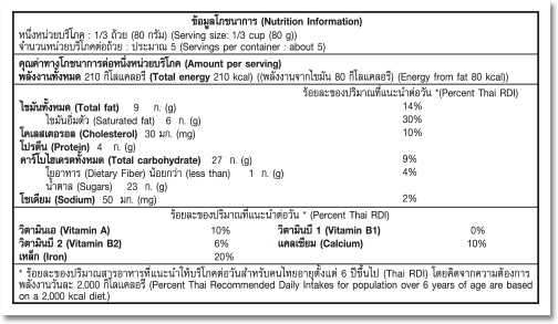 Nutrition Facts Label for Chocolate Fudge Brownie™