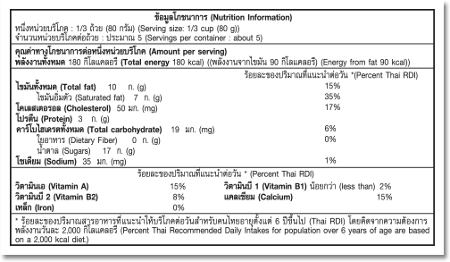 Nutrition Facts Label for Vanilla